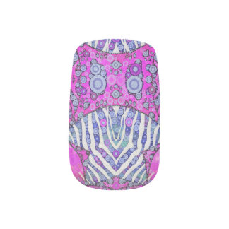 Pink Blue Animal Print Minx Nail Art