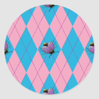 Pink & Blue Argyle Ladybug Round Sticker