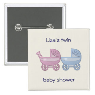 pink & blue baby buggy 2 inch square button