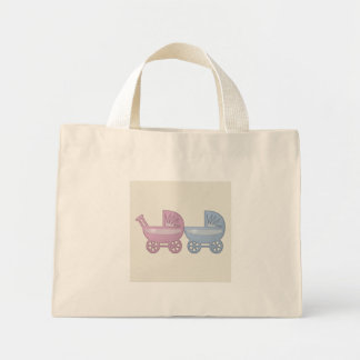 pink & blue baby buggy mini tote bag