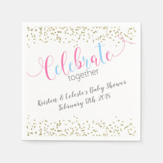 Pink Blue Baby Combined Joint Friends Celebration Paper Napkins