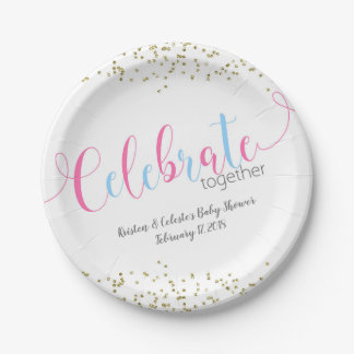 Pink Blue Baby Combined Joint Friends Celebration Paper Plate