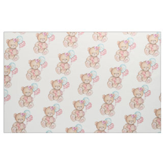 Pink & Blue Balloons & Teddy Bear Baby Girl Fabric