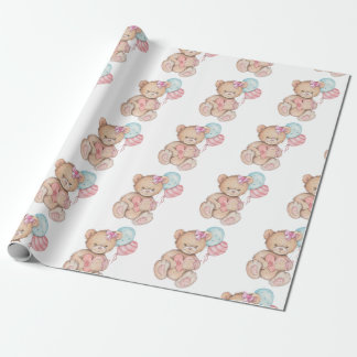 Pink & Blue Balloons & Teddy Bear Baby Girl Wrapping Paper