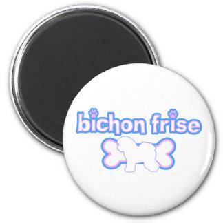 Pink & Blue Bichon Frise 2 Inch Round Magnet