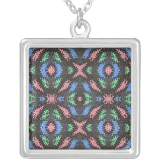 pink blue black abstract square pendant necklace