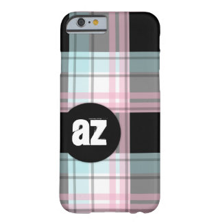 Pink Blue Black Plaid Monogram iPhone 6 Case Barely There iPhone 6 Case