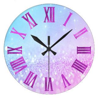 Pink Blue Bright Glitter Metallic Roman Numers Large Clock