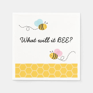 Pink & Blue Bumble Bee Gender Reveal Disposable Napkins