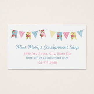 Pink & Blue Bunting Consignment Store / Daycare Business Card