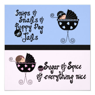 """Pink Blue Carriage Gender Reveal 5.25"""" Square Invitation Card"""