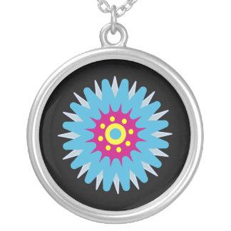 Pink & Blue Cartoon Flower Customizable Black Round Pendant Necklace