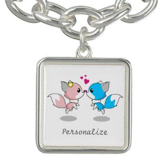 Pink & Blue Cartoon Fox Couple Charm Bracelet