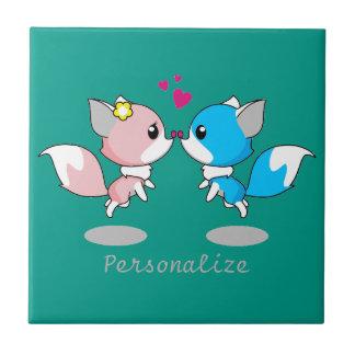 Pink & Blue Cartoon Fox Couple Tile