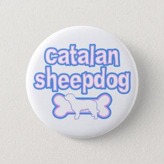 Pink & Blue Catalan Sheepdog 2 Inch Round Button