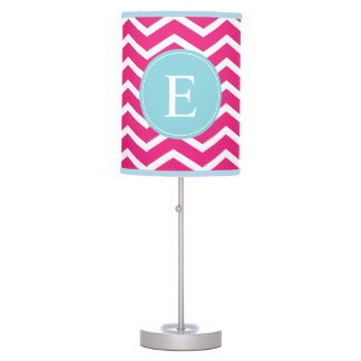 Pink Blue Chevron Monogram Table Lamp