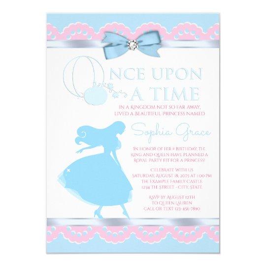 Pink Blue Cinderella Birthday Party Invitation