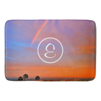 Pink & blue clouds rainbow sunrise custom monogram bath mat