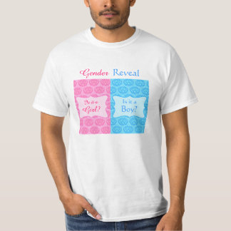 Pink Blue Damask Baby Gender Reveal Party Man's T-Shirt