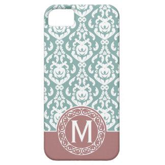Pink Blue Damask Monogram iPhone 5 Cases