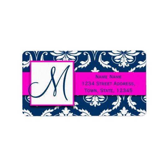 Pink Blue Damask Wedding RSVP Return Address
