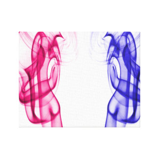 Pink Blue Dancing Smoke Plumes Stretched Canvas