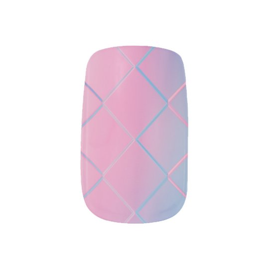 Pink & Blue Diamond Pattern Nail Art