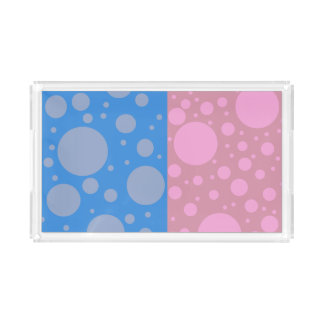 Pink Blue Dots Custom Small Vanity Tray