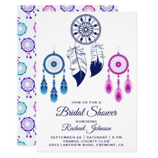 Pink Blue Dream Catcher Bridal Shower Invitation