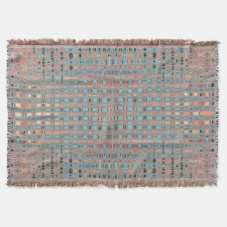 Pink Blue Earth Toned Patterns Throw Blanket