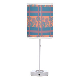 Pink Blue Flora Squared Shade Table Lamp