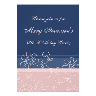 Pink Blue Floral 85th Birthday Party Invitations