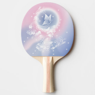 Pink Blue Floral  Butterfly Fantasy Ping Pong Paddle