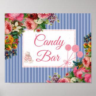 Pink & Blue Floral Candy Bar Wedding Sign Poster