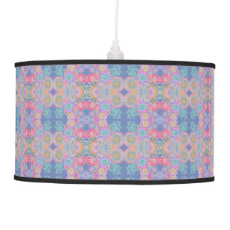 pink blue flower circles lamp
