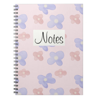 Pink Blue Flowers on Pastel Pink Notebook