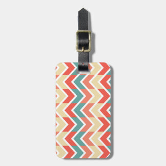 Pink Blue Geometric Design Abstract Zigzag Pattern Luggage Tag