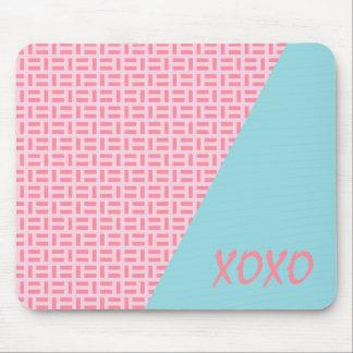 Pink & Blue Geometric Patterned Custom Mousepad