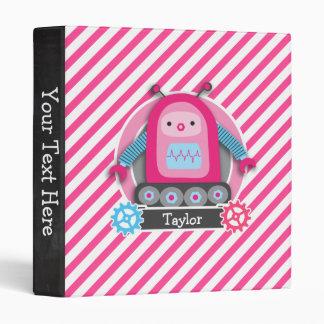 Pink & Blue Girl Robot; Pink & White Stripes Binders