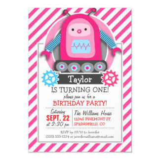 Pink & Blue Girl Robot; Pink & White Stripes Customized Invitation Cards