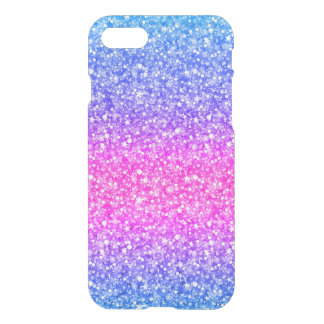 Pink & Blue Glitter & Sparkles Pattern Background iPhone 7 Case