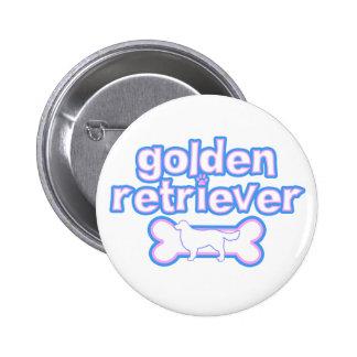 Pink & Blue Golden Retriever 2 Inch Round Button