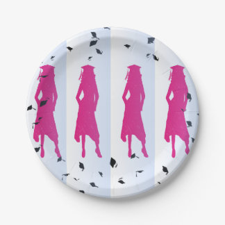 Pink & Blue Grad Silhouettes Paper Plate