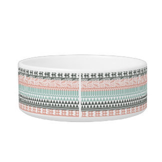 Pink Blue Gray Abstract Aztec Tribal Print Pattern Bowl