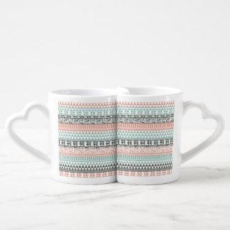 Pink Blue Gray Abstract Aztec Tribal Print Pattern Coffee Mug Set