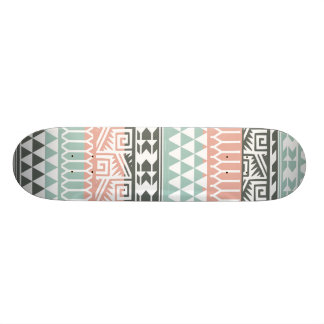 Pink Blue Gray Abstract Aztec Tribal Print Pattern Skateboards
