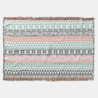 Pink Blue Gray Abstract Aztec Tribal Print Pattern Throw