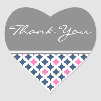 Pink Blue Gray Thank You Wedding Envelope Seals Stickers
