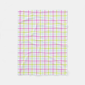 Pink, blue, green and white tartan fleece blanket