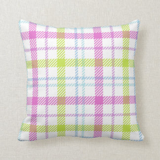 Pink, blue, green and white tartan throw pillow